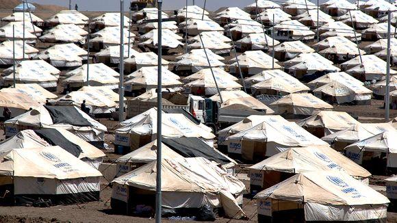 Pakolaisleiristä Zakhon kylässä.