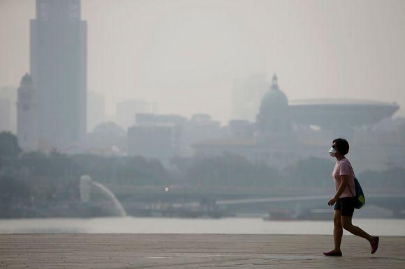 Видео: Nainen, jolla on hengityssuojan kulkee kadulla. Taustalla pilvenpiirtäjä ja muita rakennuksia, jotka savusumu on hämärtänyt.