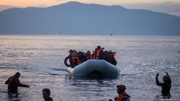 Turvapaikanhakijoita saapui Kreikan Lesboksen saarelle 9. maaliskuuta.
