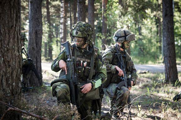 Sotilaita metsässä.