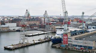 Näkymä Helsingin telakalle.