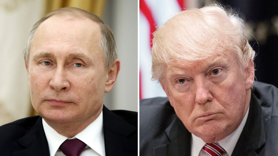 Kuvakollaasissa Venäjän presidentti Vladimir Putin (vas.) ja Yhdysvaltain presidentti Donald Trump.