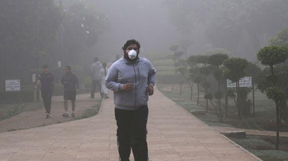Intialainen mies on lähtenyt aamulenkille Lodhin puutarhaan Delhissä.