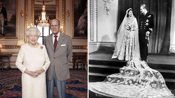 Kuningatar Elisabetin ja prinssi Philipin virallinen hääpäiväpotretti sekä hääkuva vuodelta 1947.
