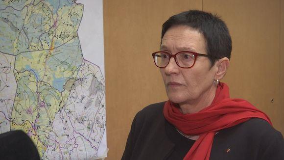 suunnittelujohtaja Riitta Lönnström ja kartta
