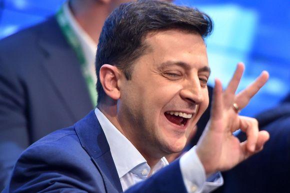 Volodymyr Zelenskyi under valkvällen 21.4.2019