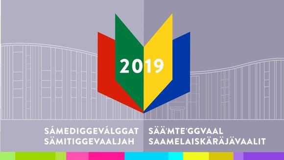 sámediggeválggat 2019, vaaligrafiikka logo ja teksti