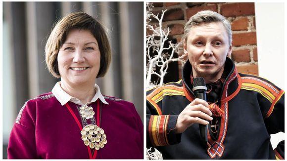 Norjan Saamelaiskäräjien presidentti Aili Keskitalo ja Ruotsin Saamelaiskäräjien hallituksen puheenjohtaja Per-Olof Nutti