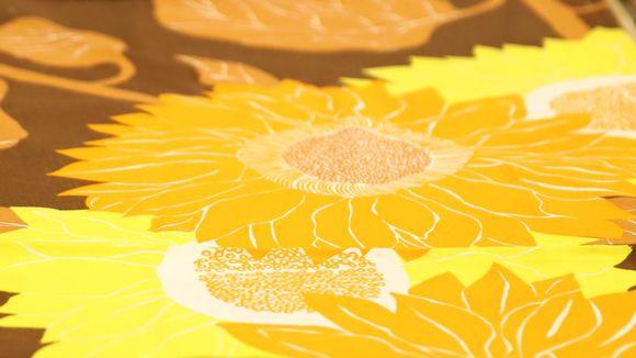 Vanha auringonkukka kangas.
