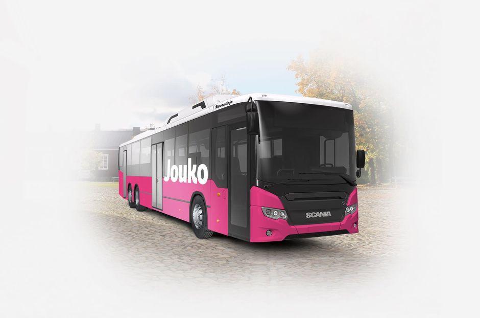 Lappeenrannan pinkki paikallisbussi.
