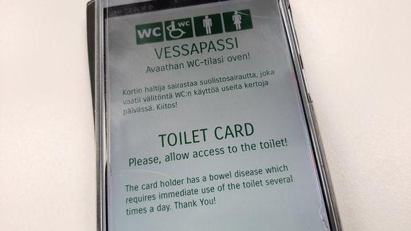 Kännykässä auki vessapassi-sovellus.