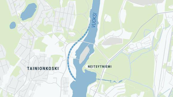 Karttakuva Tainionkosken voimalaitoksen alueesta. Kuvaan sijoitettu mahdollinen Tainionkosken kanava.