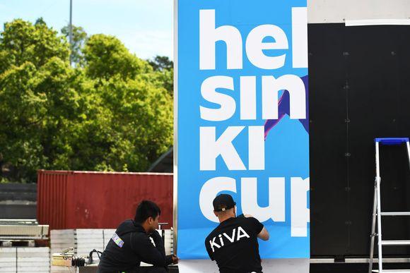 Helsinki Cups område byggs upp.
