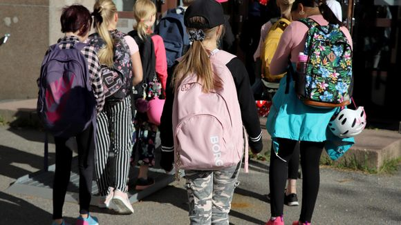 oppilaat kävelevät jonossa sisään koulurakennukseen
