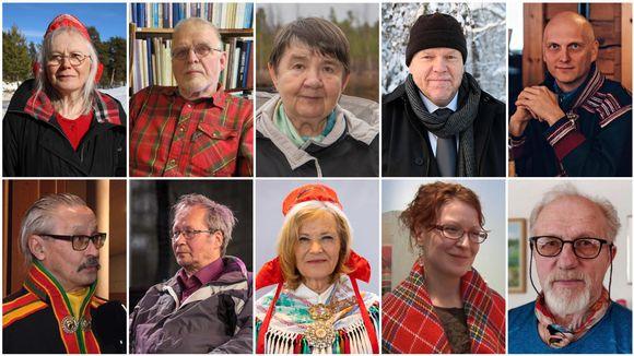 Saamelaisten totuus- ja sovintokomission komissaariehdokkaat Marjaana Aikio, Heikki J. Hyvärinen, Irja Jefremoff, Juha Joona, Petteri Länsman, Yrjö Musta, Aslak A. Pieski, Irja Seurujärvi-Kari, Miina Seurujärvi ja Nils-Henrik Valkeapää.