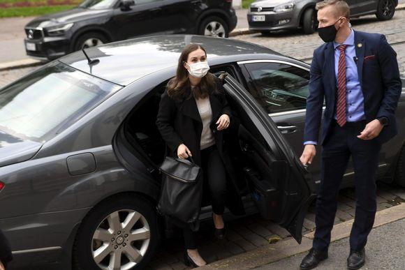 Pääministeri Sanna Marin saapui hallituksen iltakouluun 14. lokakuuta.