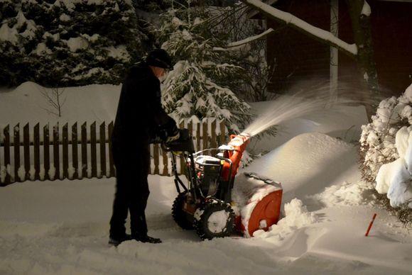 En person med en snöslunga.