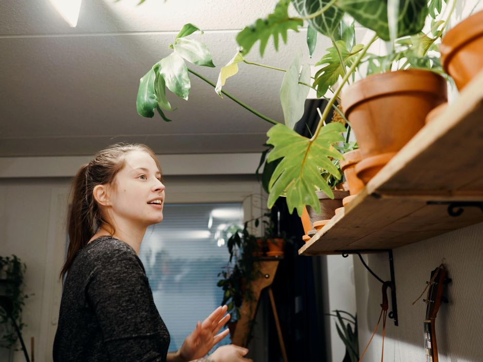 Nainen katselee huonekasvejaan hyllyllä.
