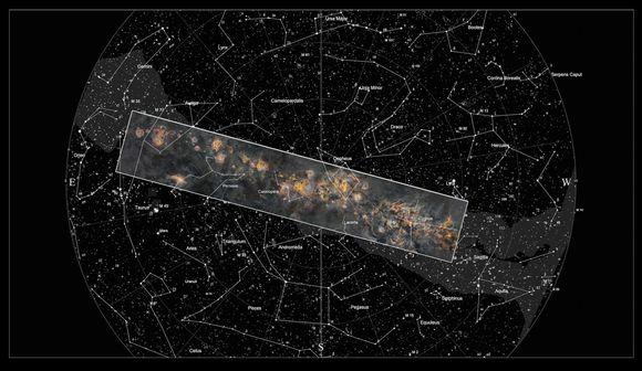 Kuvattu alue pohjoisella tähtitaivaalla.