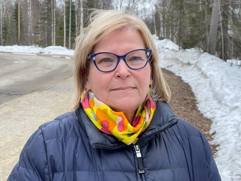 Utsjoen kunnanjohtaja Vuokko Tieva-Niittyvuopio huhtikuussa 2021.