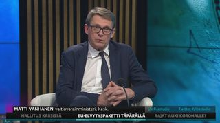 Valtiovarainministeri Matti Vanhanen kommentoi A-studiossa EU:n elpymispakettia.