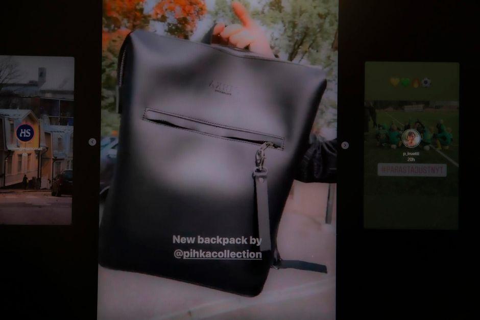 Sanna Marin Instagramissa esittelee reppua, joka on kotimainen tuote